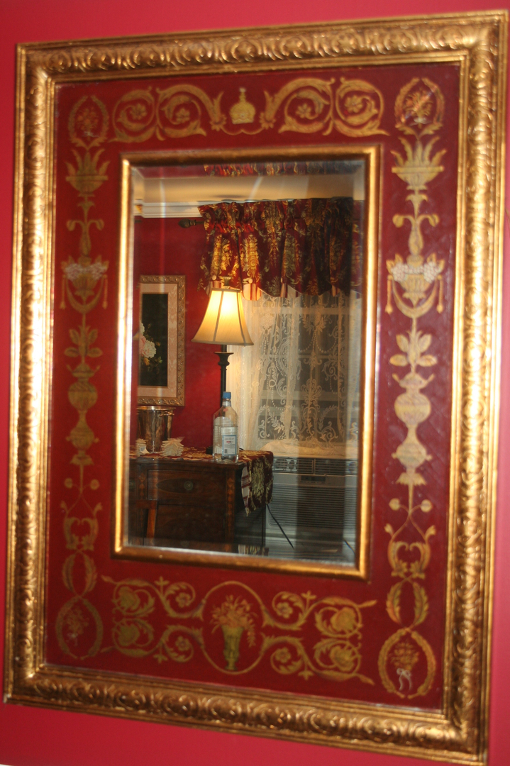 Beveled Burgundy and Gold Mirror Image