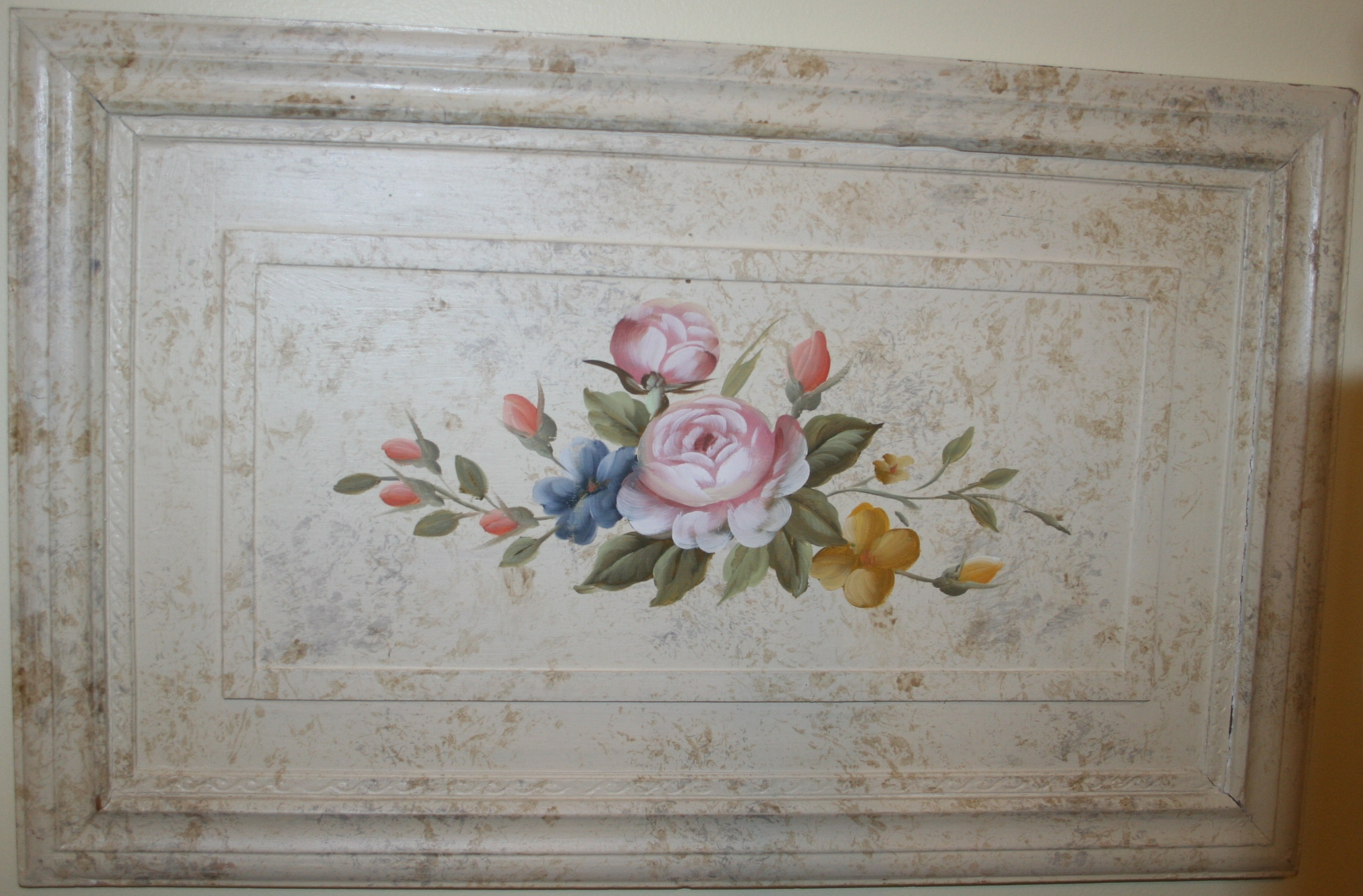Floral Painting on Wood Image