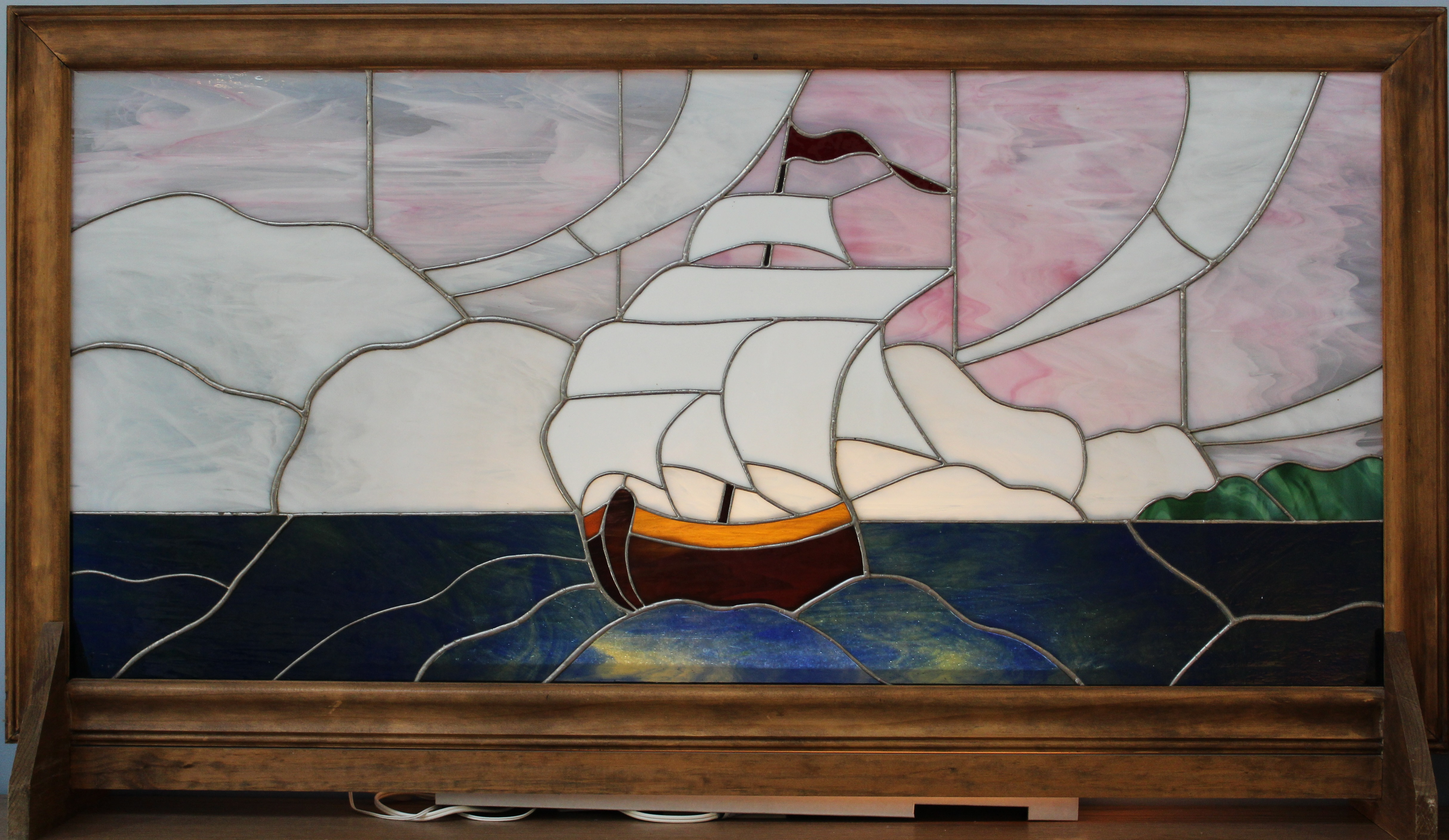 Stain Glass Clipper Ship Image